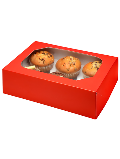 6 Red Cupcake Box, Pack of 2