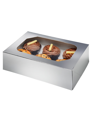6 Metallic Silver Cupcake Box, Pack of 2