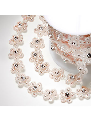 Pearl Daisy with Diamantes - Rose Gold 15mm x 5m