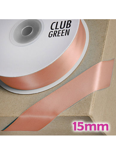 Double Sided Satin Ribbon 15mm Rose Quartz / Gold