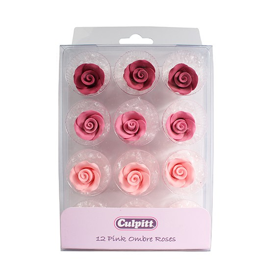 Pink Ombre Sugar Roses - 12 piece - 20mm