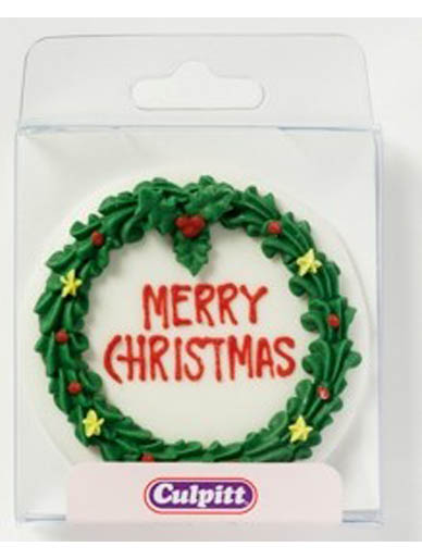 Round Royal Icing Christmas Wreath Plaque Cake Decoration