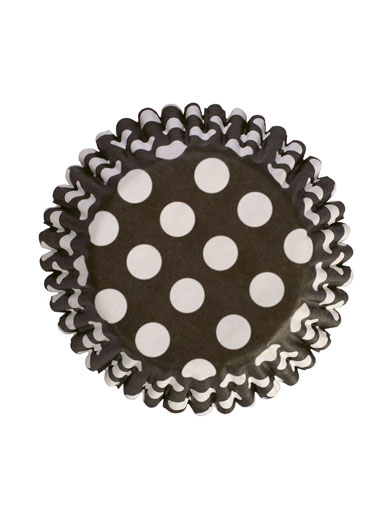 Black Polka Dot Baking Cases 54 pack