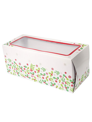 Christmas Holly Log Cake Oblong Box 8''