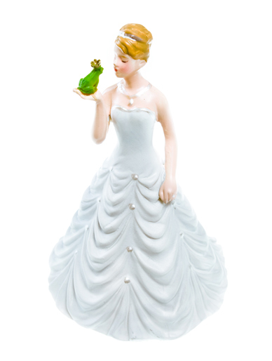 ''Princess Bride Kissing Frog Prince'' - Humorous Figurine