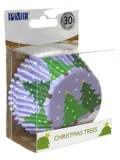 PME Christmas Trees Foil Lined Cupcake Cases - Pack of 30