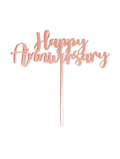 'Happy Anniversary' Rose Gold Cake Topper