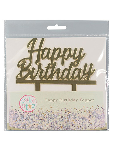 Cake Star Happy Birthday Gold Acrylic Cake Topper