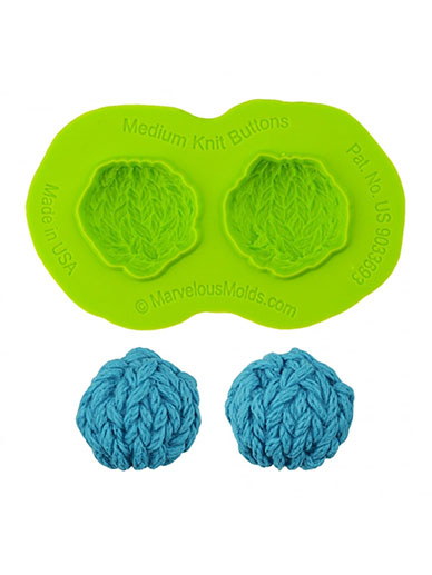 Medium Knit Buttons Mould - Marvelous Molds