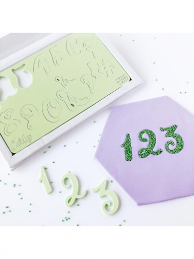 Sweet Stamp - CURLY Numbers & Symbols Embossing Set