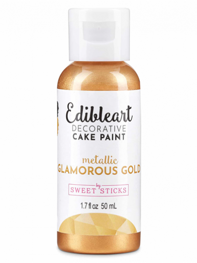 Sweet Sticks Edible Art Decorative Paint - Metallic Glamorous Gold 50ml