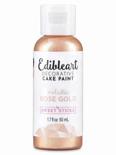 Sweet Sticks Edible Art Decorative Paint - Metallic Rose Gold 50ml