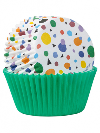 Wilton Standard Baking Cases - Geometric & Green - Pack of 75