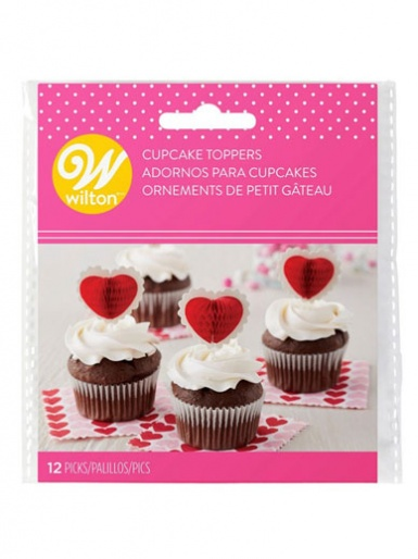 Wilton Cupcake Toppers - 12 Picks - Honeycomb Hearts
