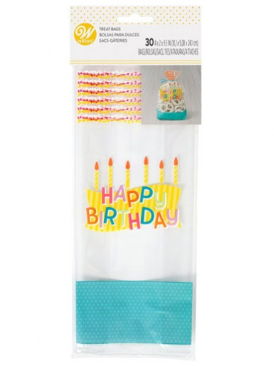 Wilton Standard Treat Bags - Happy Birthday - Pack of 30
