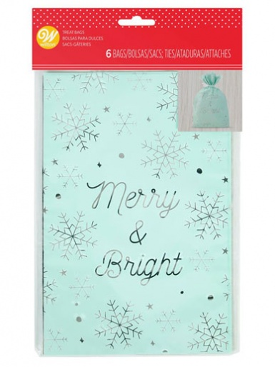 Wilton Foiled Treat Bags - Merry and Bright - Pack of 6