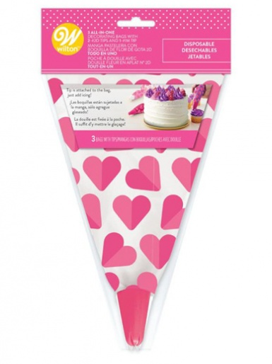 Wilton Valentine's All-In-One Decorating Bag with Tip - Pack of 3