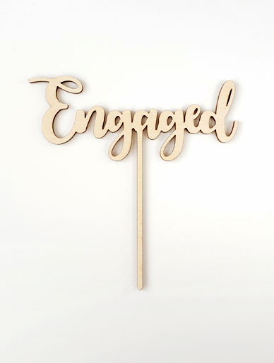 'Engaged' Wooden Cake Topper