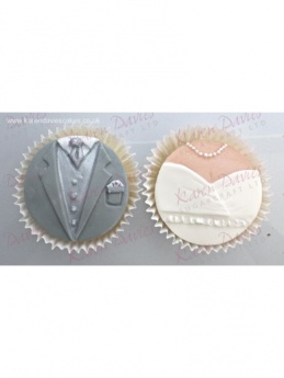 Cupcake tops - Bride and Groom - Karen Davies Mould