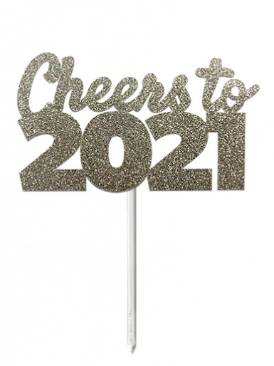 'Cheers to 2021' Silver Glitter Card Cake Topper