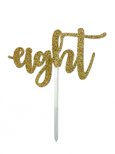 'Eight' Gold Glitter Card Cake Topper