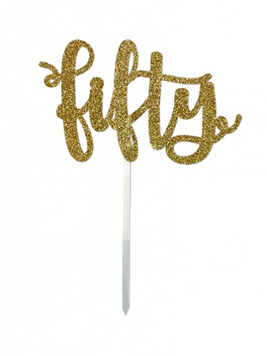 'Fifty' Gold Glitter Card Cake Topper