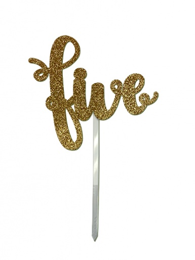 'Five' Gold Glitter Card Cake Topper