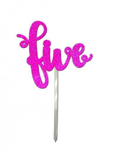 'Five' Pink Glitter Card Cake Topper