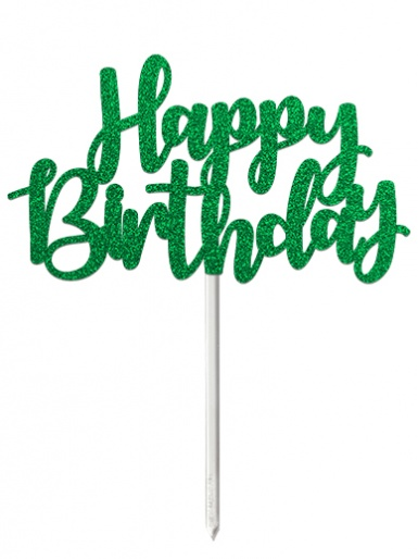 'Happy Birthday' Green Glitter Card Cake Topper