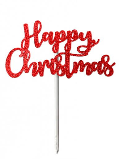 'Happy Christmas' Red Glitter Card Cake Topper
