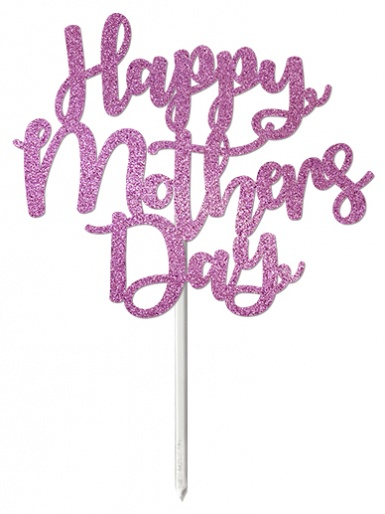 'Happy Mothers Day' Pastel Purple Glitter Card Cake Topper