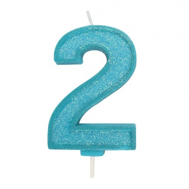 Blue Sparkle Number Candle - 2