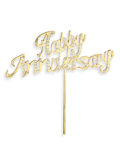 Diamante 'Happy Anniversary' on Stem - Gold