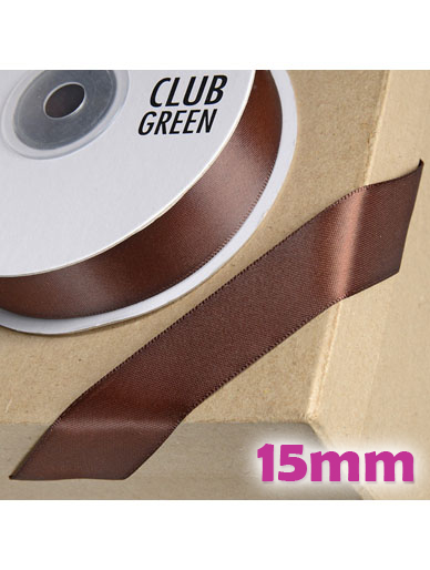 Double Sided Satin Ribbon 15mm Chocolate Brown