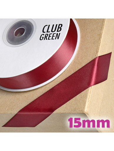 Double Sided Satin Ribbon 15mm Dark Burgundy