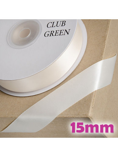 Double Sided Satin Ribbon 15mm Ivory