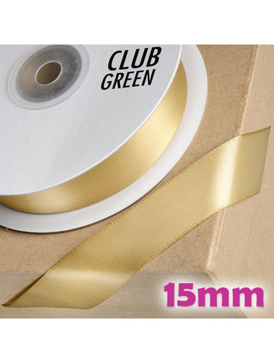 Double Sided Satin Ribbon 15mm Light Gold