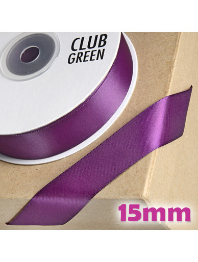 Double Sided Satin Ribbon 15mm Plum