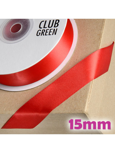 Double Sided Satin Ribbon 15mm Red