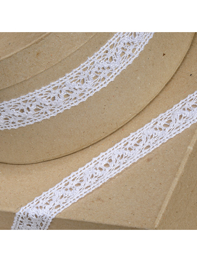 Cotton Lace Trim Ribbon - White - 25mm x 10m
