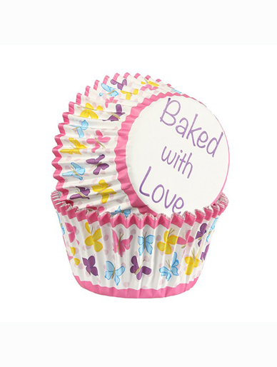 Butterfly - Baked with Love Foil Lined Baking Cupcake Cases - Pack 25