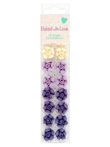 Ombre Rose Cake Decorations by Baked with Love - Pack of 16