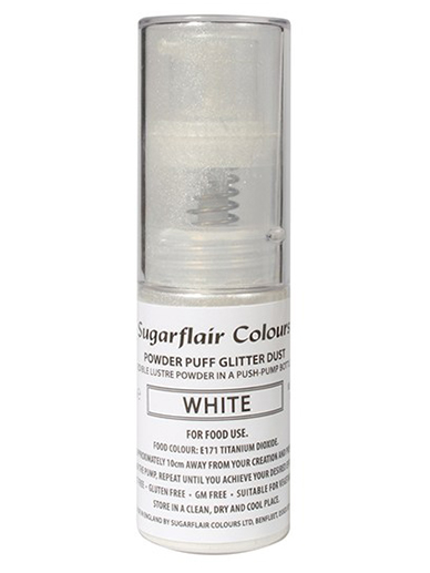 Sugarflair Powder Puff Glitter Non-Aerosol Spray - White