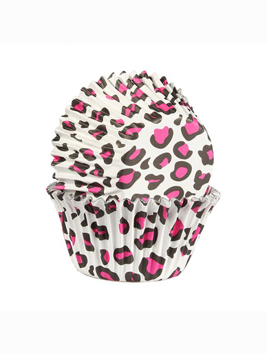Pink Leopard Print - Baked with Love Foil Lined Baking Cupcake Cases - Pack 25