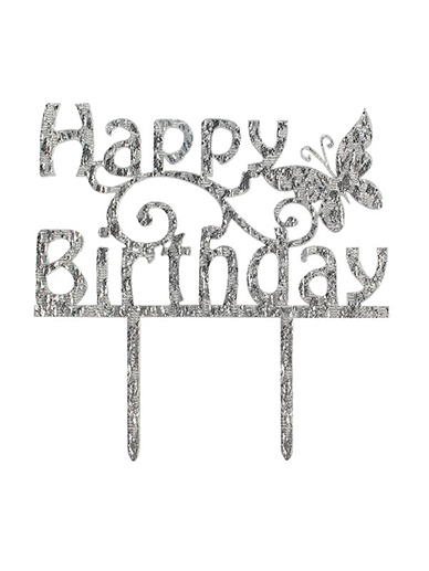 Cake Star Happy Birthday Silver Acrylic Cake Topper