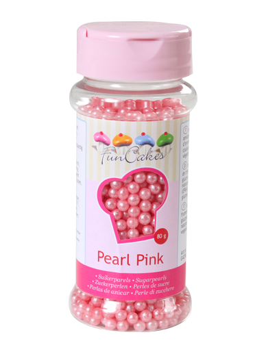 FunCakes Sugar Pearls  - Pearlescent Pink 4mm 80g