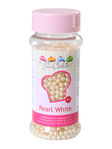 FunCakes Sugar Pearls  - Pearlescent White 4mm 80g