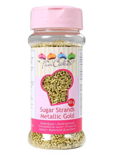 FunCakes Sugar Strands - Metallic Gold 80g