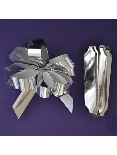 Quick Pull Cupcake Bouquet Bow 18mm - Metallic Silver
