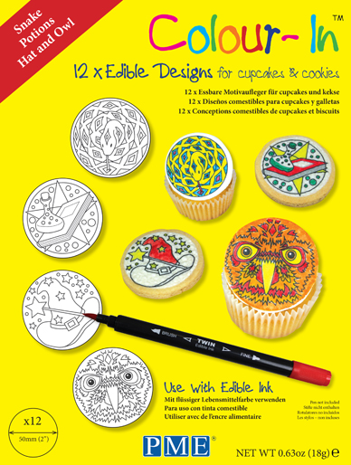 PME Colour-In - 12 x 2'' Edible Cupcake and Cookie Designs - Snake, Potions, Hat & Owl